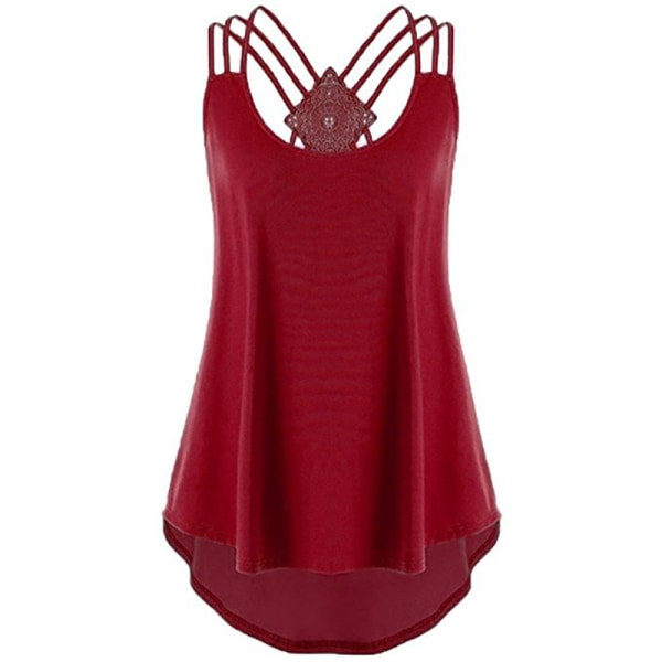 Irregular Kvinnor Cross Backless Tops Vest Red 3XL