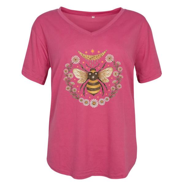 Europeiska och amerikanska bee daisy kortärmade T-shirt kvinnor pink 2XL