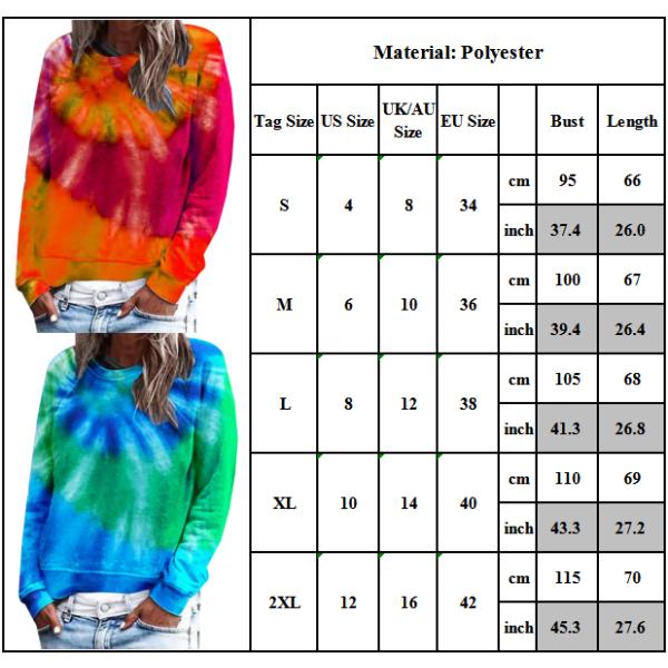 Plus Size kvinnor Långärmade Toppar Fritids Crew-neck Tie Dye Comfy Red L
