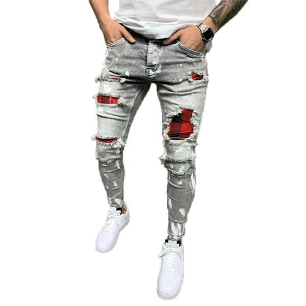 Mens Skinny Ripped Jeans Stretch Denim Pants Slim Fit Byxor Grey L