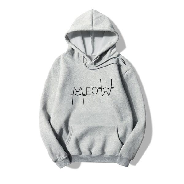Kvinnor Katt Print Hoodies Hooded Tröja Casual Lös Långärmad Grey M