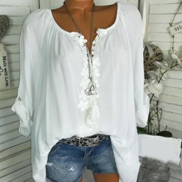 Kvinnors blommig V-ringad sommarrulleficka ärm Baggy skjorta Casual White 2XL