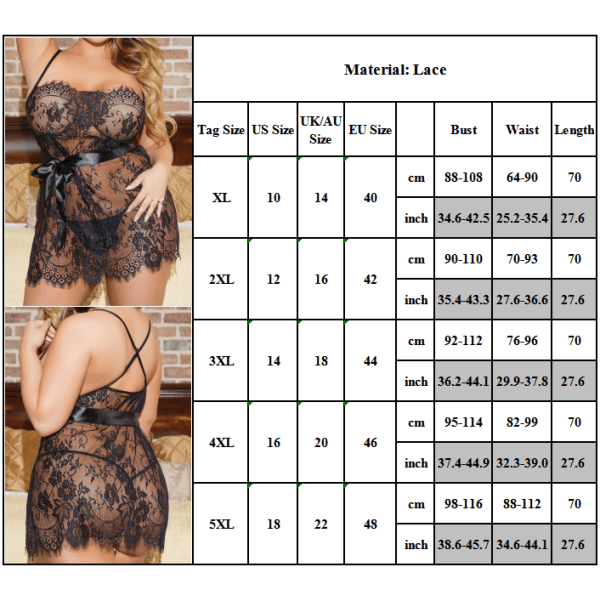 Kvinnor plus storlek sexiga klänningar - festklänningar - pyja svart XL