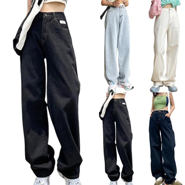 Våren och sommaren moppande jeans tunna och mångsidiga byxor light bule L
