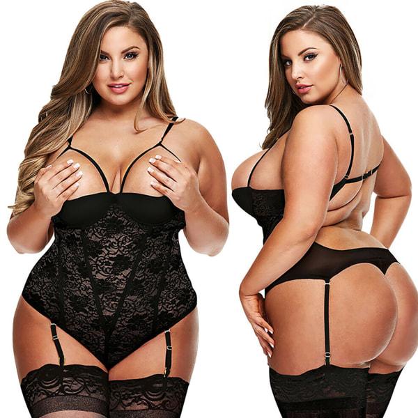 Plus Open Sexy Bodystocking Underkläder Kvinnor Underkläder Nattkläder Black L