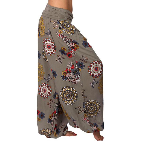 Harem Hippie Byxor Kvinnors Yoga Floral Boho Bottoms Traousers Khaki M