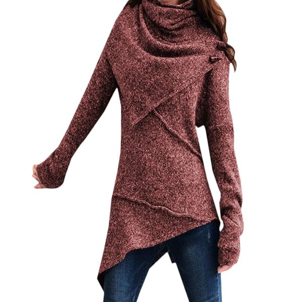 Kvinnor Höst Solid Långärmade Tröjor Blus Damer Casual Toppar Wine Red XL