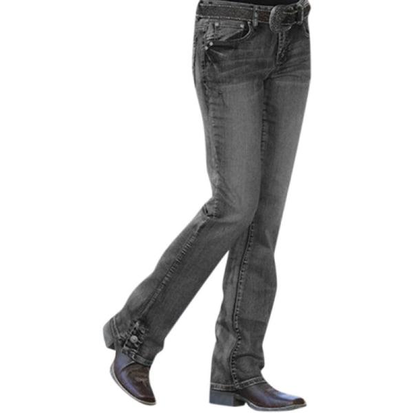 Kvinnors Casual Mid Waisted Jeans Stretch Slim Fit Denim Byxor Black 3XL