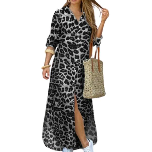 Kvinnors sexiga knäppta skjortklänning Casual Camo Tops Maxi Loose White Leopard 3XL