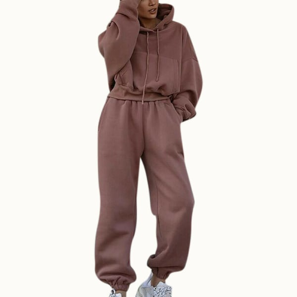 2ST Kvinnor Träningsdrag Set Hoodie Toppar Byxor Gym Sport Loungewear Bean Paste M