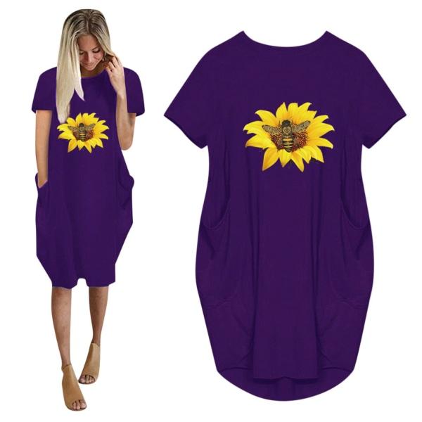 Flicka solros kortärmad klänning med tryck purple M