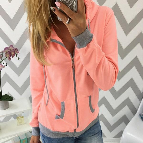 Avslappnad långärmad luvjacka med huva för kvinnor med fickor orange L
