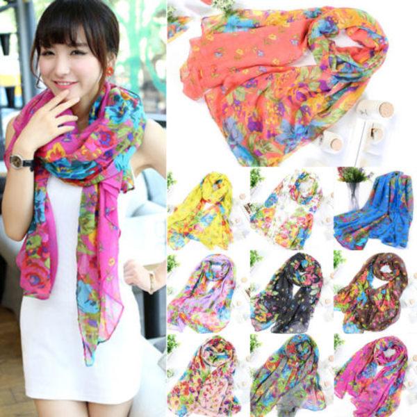 Kvinnors halsduk tryckt blommönster halsduk Sjal Mode halsduk purple