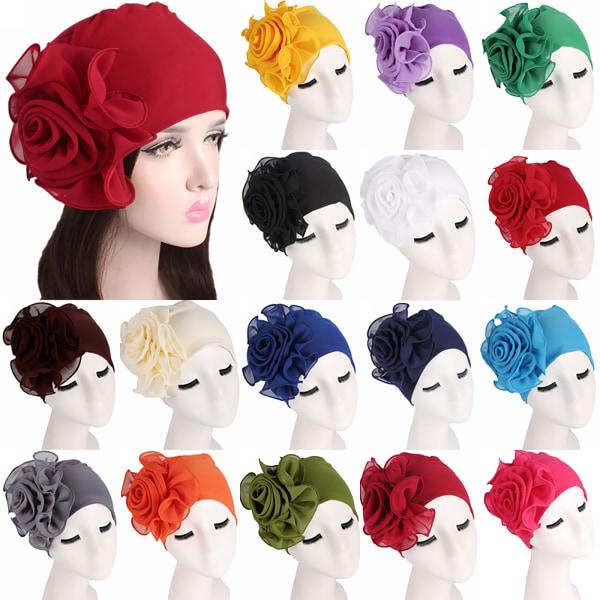 Kvinnors sida stor blomma bandana hatt Bandana blomma hatt mössa black