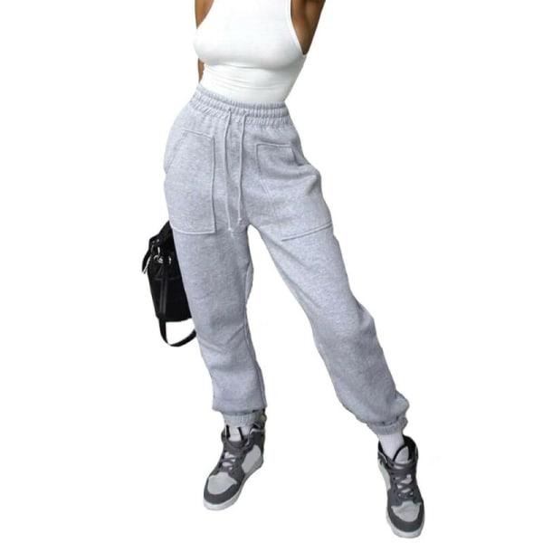 Kvinnor Casual Elastisk byxa Stora fickor Sportbyxor Träningsbyxor White 3XL