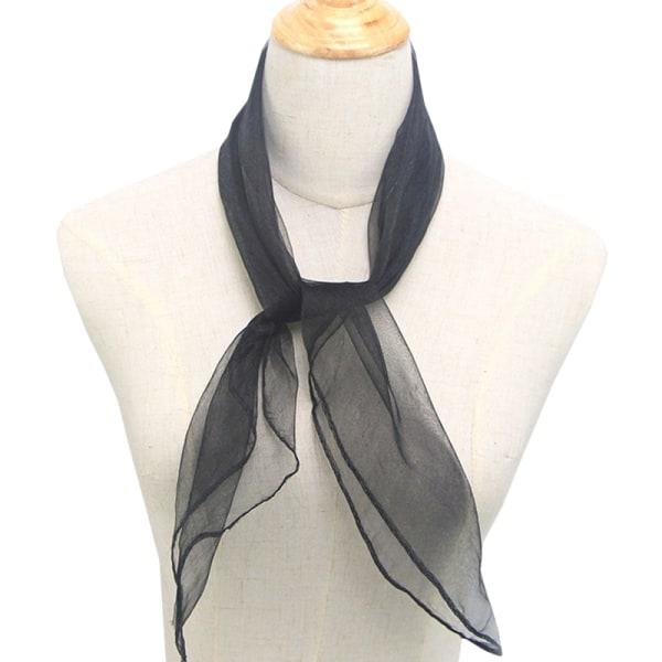 Kvinnors godisfärgad silkescarfduk Halsduk Mode Retro halsduk black 60*60CM