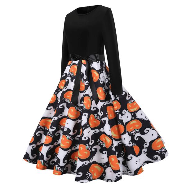 Halloween -kvinnas långärmade klänning med rund hals och fluga As pics XXL