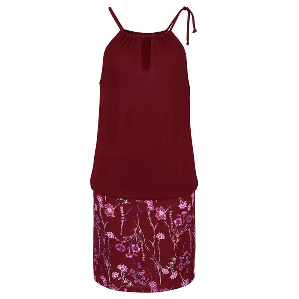 Sommar Bohemian dam kort kjol strandgrimma klänning red wine S