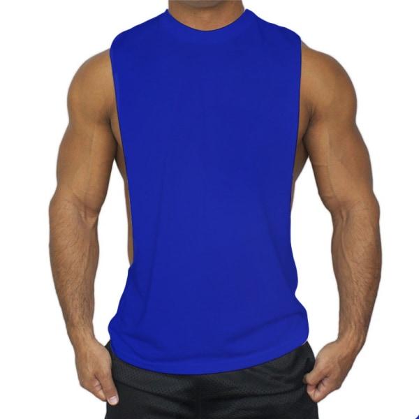 Enfärgad ärmlös lågskjortad sportshirt för män Dark blue M