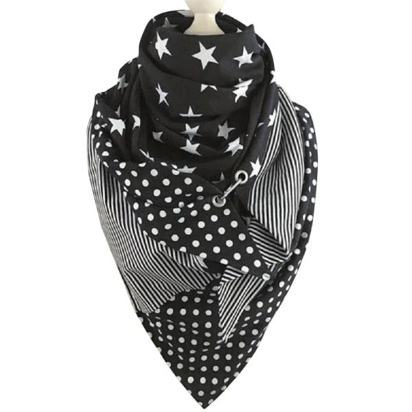 Femspetsig stjärntryckt haklappsjal för kvinnor mode halsduk Five-pointed star