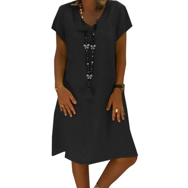 Kvinnors V-ringad kortärmad klänning _ street style casual kjol black XL