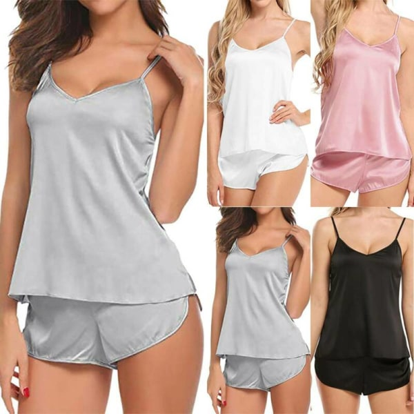 Kvinnors V-ringning Strappy Vest Set Tops Shorts Sommarpyjamas Pink M