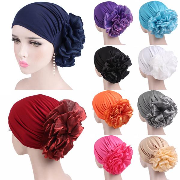 Kvinnor stor blomma turban hatt mössa hatt turban retro krans gray