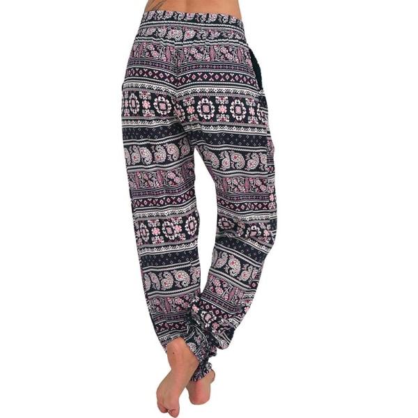 Dam Pocket Wide Boho Byxor Harem Midja Yoga Capri Beach Byxor Pink2 S