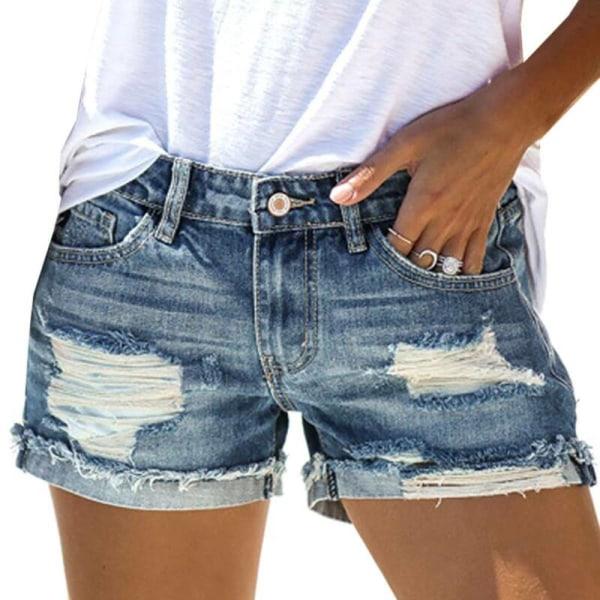 Kvinnors casual jeansshorts Rippade Street Denim shorts Blue L