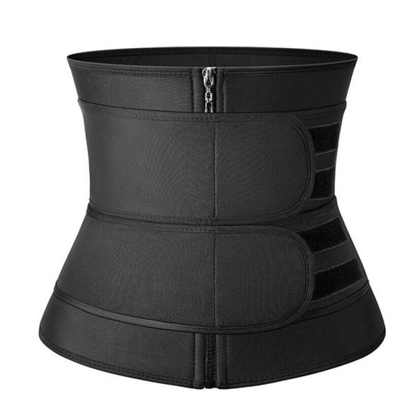 Kvinnors midja tränare dragkedja med dubbla bälten sport korsett kropp Shapewear black M