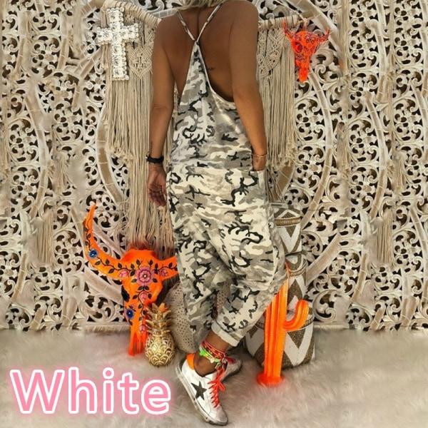 Damkläder Kamouflage Jumpsuit Spaghetti Strap Suit white M