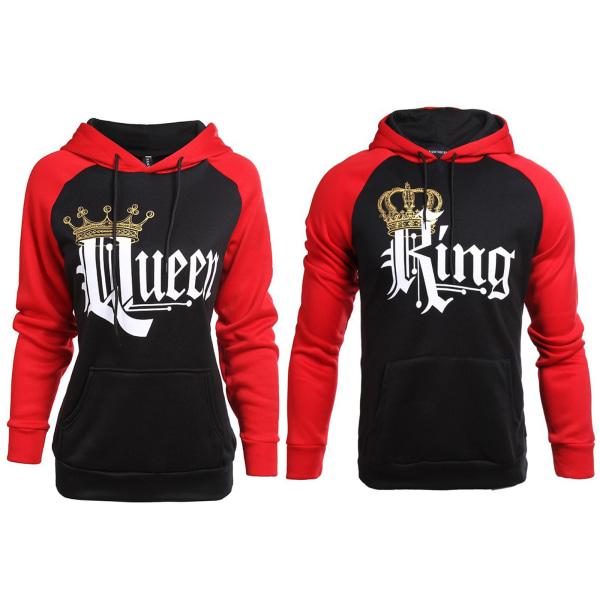 Kung och drottning par Unisex Lover Pullover Pocket Hooded Queen King XL