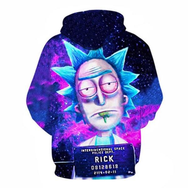 Street tröja Rick och Morty 3D tryckt par tröja med huva M