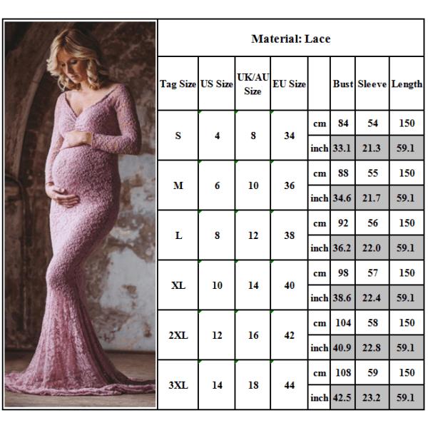 Moderskap långärmad damklänning Maxifotografiklänning pink L