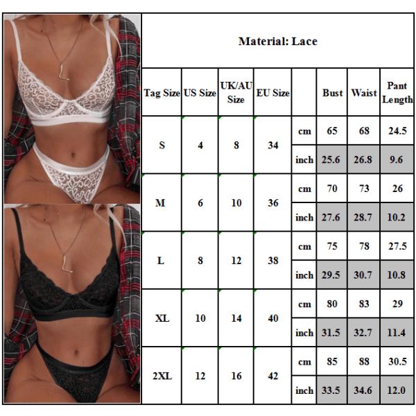 Kvinnor Sexiga underkläder Spets Babydoll Thong Underkläder Korsett BH Set Black S