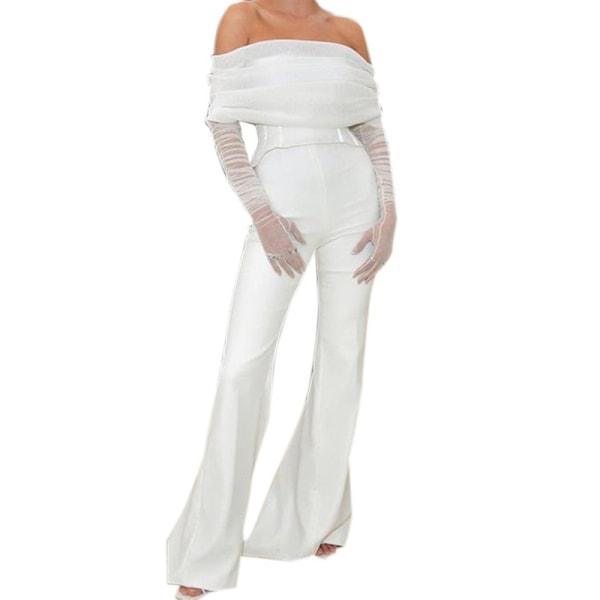 Dammodell Jumpsuit Off Shoulder Långärmad white M
