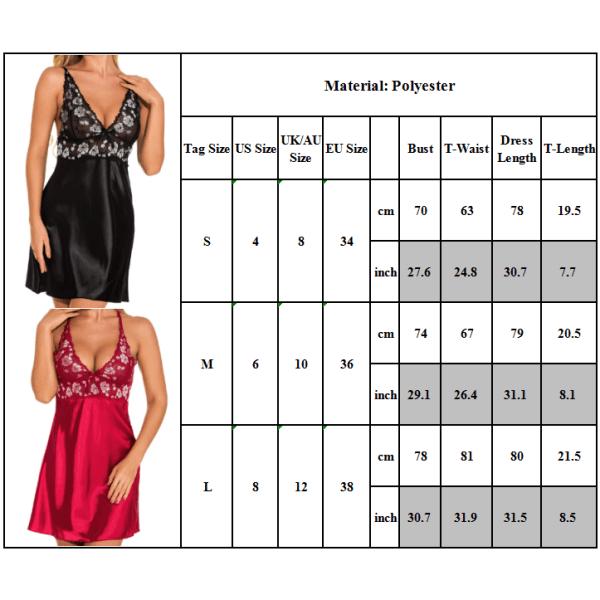 Europeisk och amerikansk sexig pyjamas - hängslen nattlinne - E Svart M