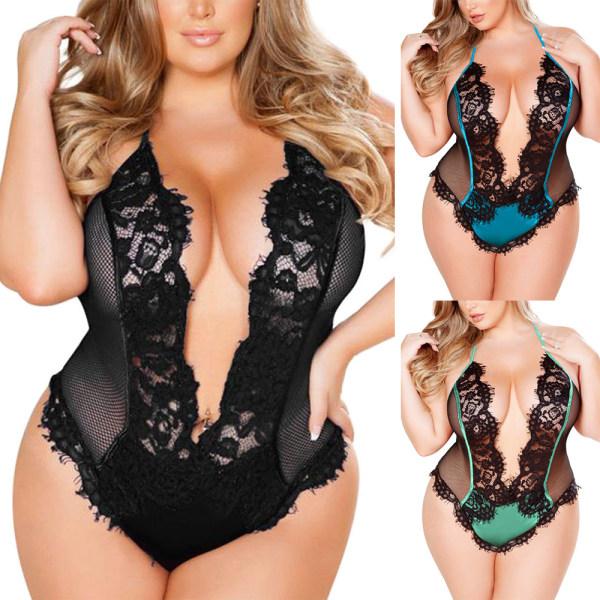 Valentines Lace Lingerie Bodysuit Plus Size Women Sexy Babydoll Black XL