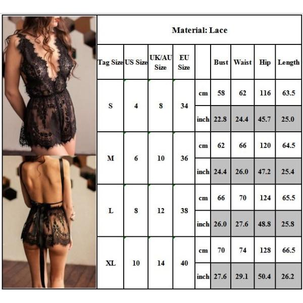Kvinnors sexiga slyngspetsar genomskinliga hängslen Nattkläder Babydoll XL