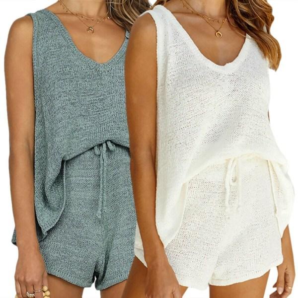 Kvinnors avslappnade stickade lösa väst ärmlösa shorts med shorts Blue M