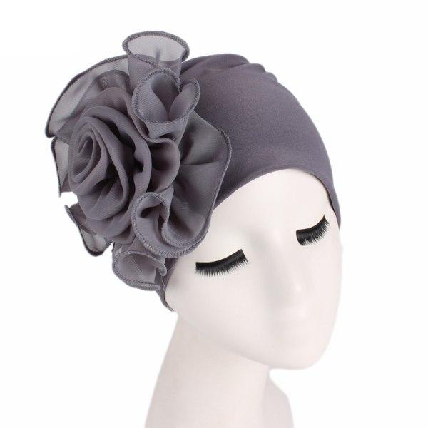 Kvinnors sida stor blomma bandana hatt Bandana blomma hatt mössa gray