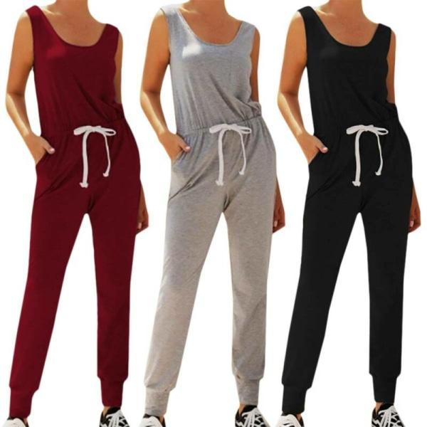 Kvinnors sommar ärmlös jumpsuit träningsoverall Lounge Grey M