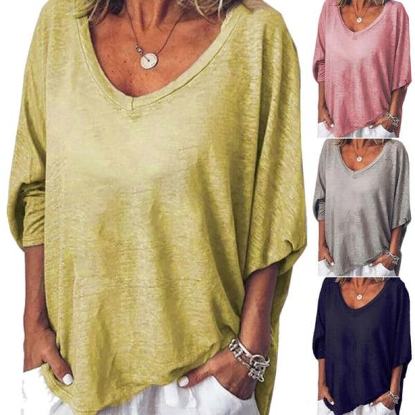 Kvinnors V-hals Långärmade lösa T-shirts Vanligt Casual Blus Top Pink XL