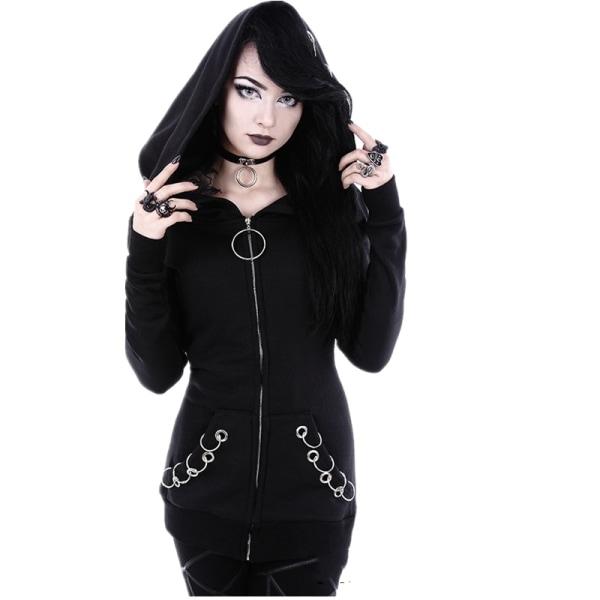 Hooded Pullover för kvinnor Nyhetströja Hoop Sweatshirt svart XL