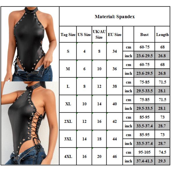 Dam Snörning Halterneck Jumpsuit Underkläder Nattkläder Nattkläder Black XL