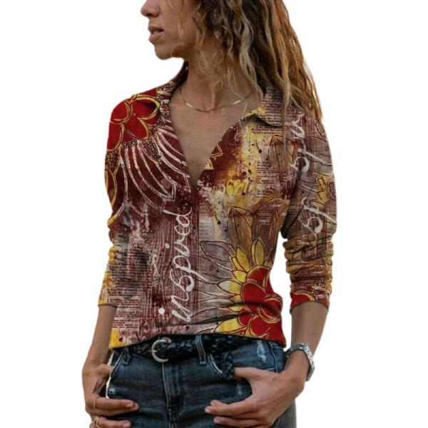 Plusstorlekvinnors blommig långärmad t-shirt dam löst t-shirt Dark Blue XL