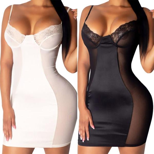 Kvinnors sexiga underkläder Mesh genomskinlig spetsstygn nattklänning Black 3XL