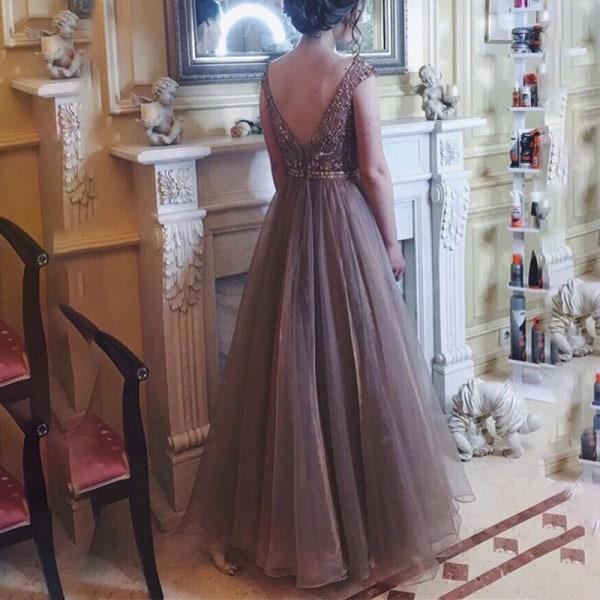 Kvinnors sexiga halter Raglan Chiffongklänning med midja lång kjol apricot S