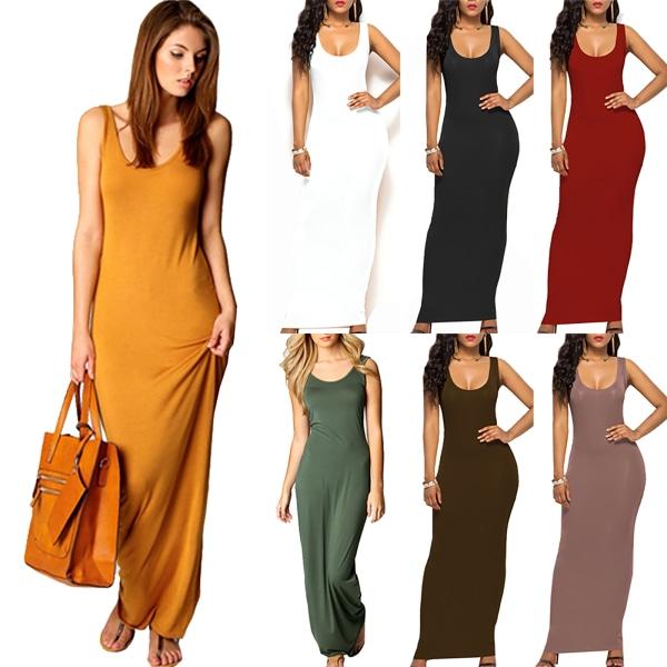Ärmlös långklänning för kvinnor _ klänning i enfärgad _ stranddräkter brown L