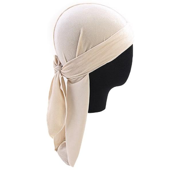 Mode damer lång svans pirat hatt halsduk huvudband turban hatt Beige